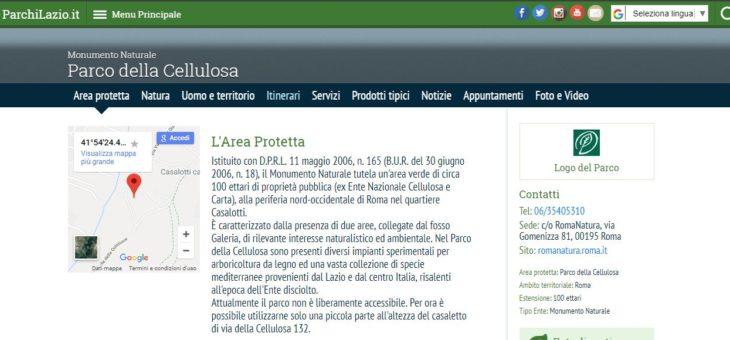 """www.Parchilazio.it: """"Monumento Naturale Parco della Cellulosa"""""""